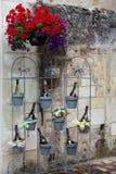 Flaskor av vin i blomkrukor arkivbilder