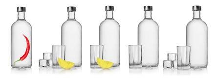 Flaskor av vodka och exponeringsglas arkivbilder