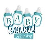 Flaskor för baby med hjärtfeldusch Arkivbild