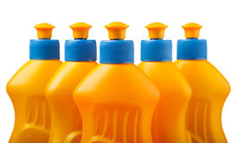 Flaskor för Dishwashingtvättmedelguling Royaltyfri Bild