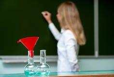 Flaskor för kemi Arkivfoton