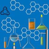 Flaskor för kemiska experiment vektor illustrationer