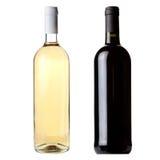 Flaskor för röd och vit wine Arkivbild