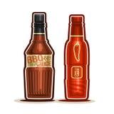 Flaskor för sås för för vektorlogoBBQ och chili vektor illustrationer