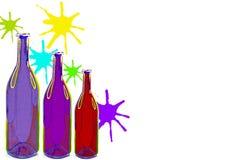 Flaskor för vin för vattenfärg med färgstänk på vit bakgrund Royaltyfria Foton