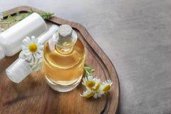 Flaskor med kosmetiska produkter och nya kamomillblommor Royaltyfri Fotografi
