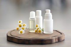 Flaskor med kosmetiska produkter och nya kamomillblommor Arkivbilder