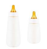 Flaskor med mjölkar för en behandla som ett barn Royaltyfri Fotografi