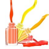 Flaskor med spillt spikar polermedel över vit bakgrund med plaskar emalj illustration 3d Livliga ljusa färger: rött rosa, skrän Royaltyfria Foton