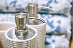 Flaskor med tvål och stelnar Fotografering för Bildbyråer