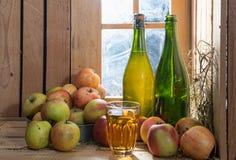 Flaskor och exponeringsglas av äppeljuice med äpplen arkivfoto