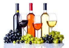 Flaskor och exponeringsglas av vin med druvor arkivfoton