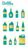 Flaskor och packesymboler. Arkivfoton