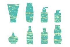 flaskor som fäster cosmetic isolerad set white för bana ihop Arkivbilder