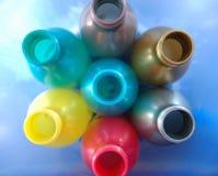 flaskor tömmer plast- Royaltyfri Bild
