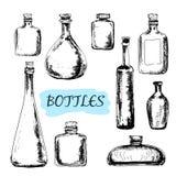 Flaskor. Uppsättning av illustrationer Arkivfoton
