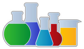 Flasks and Beaker. Chemistry Equipment including flasks and beaker isolated Stock Images