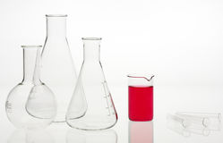Flasks in the chemical laboratory Royalty Free Stock Photography