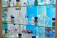 Flasks in chemical laboratory. Flasks in the chemical laboratory Stock Image