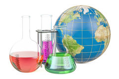 Flasks with Earth globe, global research and discovery concept. 3D Stock Photos