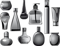 Flasks, jars, containers, tubes of body care produ Stock Photo
