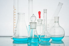 Flasks and other laboratory glassware Stock Image