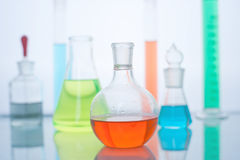Flasks and other laboratory glassware Stock Images