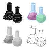 Flasks with reagents. Chemistry in school. Chemically, experiments.School And Education single icon in cartoon style Royalty Free Stock Photography