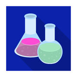 Flasks with reagents. Chemistry in school. Chemically, experiments.School And Education single icon in flat style vector Stock Photography