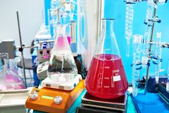 Flasks and shakers in the chemical laboratory Stock Image