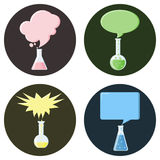 Flasks with speech bubbles set of icons. Flasks,beakers or test tubes with speech bubbles set of icons. Vector illustration in flat style Stock Photo