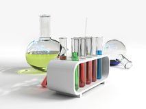 Flasks & test tubes. Over the white Royalty Free Stock Photography