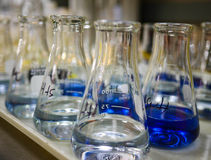 Flasks. Used in Chemical Tests of water samples Stock Photos
