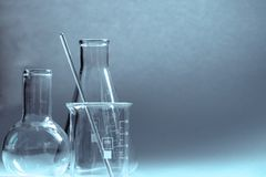 Flasks and vessels of a chemical laboratory royalty free stock images