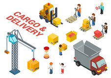 Flat 3d Isometric Cargo Delivery Shipment Icon Set Template
