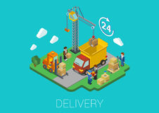 Flat 3d Isometric Delivery Van Cargo Loading Web Concept Royalty Free Stock Images