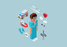 Flat 3d Isometric Infographic Emergency Ambulance Service Doctor Stock Images