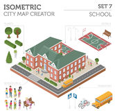Flat 3d Isometric School And City Map Constructor Elements Such Stock Photography
