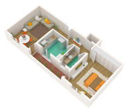 Flat - 3d vloerplan Royalty-vrije Stock Afbeeldingen