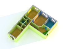Flat. Three-room flat. 3D render Royalty Free Stock Images