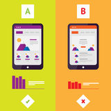 Flat AB Split Testing. Vector illustration. Results comparing two web site pages, graphics. Wireframe of mobile site on your tablet stock illustration