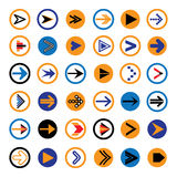 Flat abstract arrows in circles icons, symbols illustration. Flat abstract arrow in circles icons, symbols illustration. The graphic contains 36 arrow signs and Stock Photos