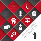 Flat abstract infographics dark red vector with icons. Illustration Royalty Free Stock Images