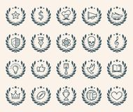 Flat Achievement Badges. Achievement badges for awards or applications. One shades of colour. Set of retro vintage badges and label logo graphics. Design Royalty Free Stock Photography