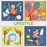 Flat Active Lifestyle Square Concept Stock Image
