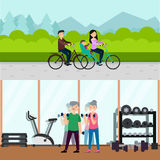 Flat Active Recreation Horizontal Banners Royalty Free Stock Photography