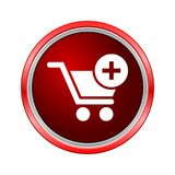 Flat add to cart icon, Internet button on white background royalty free illustration
