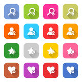 Flat addition icon set web button Stock Photography