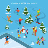Flat adult children snowman vector. Family Winter Royalty Free Stock Photos