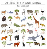 Flat Africa flora and fauna map constructor elements. Animals, b Stock Photos